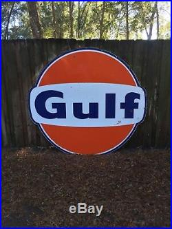 Vintage Original 6ft Porcelain Gulf Sign Large Gas Station Garage Oil