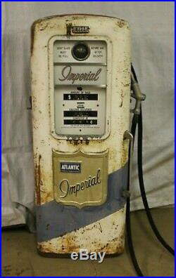 Vintage Original Erie 771 Atlantic Imperial Gas Pump Gas Station Garage Sign