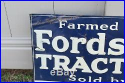 Vintage Original FORDSON TRACTORS TIN FARM SIGN CROWELL TX Tin Tacker