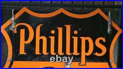Vintage Original Phillips 66 Oil Company Two Sided Ring Porcelain Sign Good