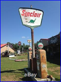 Vintage Original Sinclair DSP Pole Sign with Pole Gas and Oil