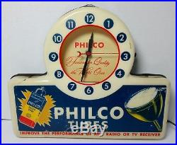 Vintage PHILCO TUBES ADVERTISING LIGHT UP CLOCK SIGN GLOW SIGN CO