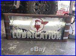 Vintage PONTIAC LUBRICATION Lighted oil AUTO Gas Sign Not Porcelain