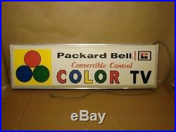Vintage Packard Bell Color TV Television LIGHT UP SIGN, advertisement, electric