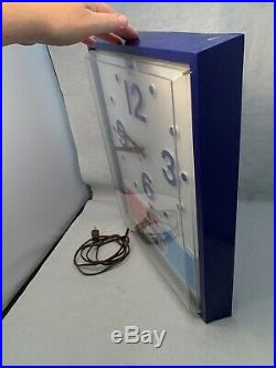 Vintage Pepsi Wall Mounted Clock Lighted Sign Advertising- Free Shipping/works