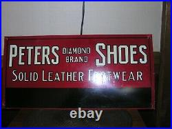 Vintage Peters Diamond Brand Shoe Sign, Antique, Country Store, Red Goose