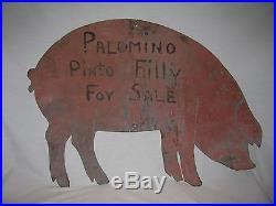 Vintage Pig Breeders Painted Folk Art Sheet Metal Sign