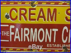 Vintage Porcelain Fairmont Creamery Sign Antique Old Cream Cheese Dairy 9552