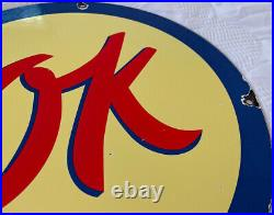 Vintage Porcelain OK Used Cars by Chevrolet Metal Tacker Sign Gas Oil Pump Plate