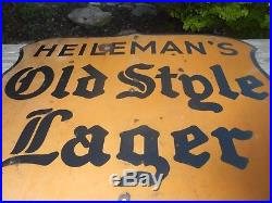Vintage Porcelain OLD STYLE LAGER BEER Advertising Die Cut Shield Brewery SIGN