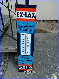 Vintage Porcelain Steel Drug Store Thermometer EX-LAX Advertising Sign 1930's