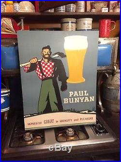 Vintage Rare Early Paul Bunyan Beer Sign Mint Never Used Brainerd MN