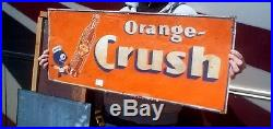 Vintage Rare Orange Crush Soda Pop Metal Sign With Large Crushy & Bottle Graphics