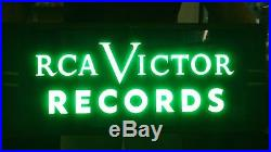 Vintage Rca Victor Records Lighted Advertising Sign 26 X 10