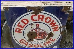 Vintage Red Crown Gasoline For Power Sign Service Station Gas Oil