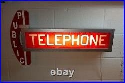 Vintage Red Glass Telephone Booth Lighted Sign