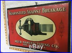 Vintage Reed Vise advertising sign (Blacksmith vise and anvil collectible)