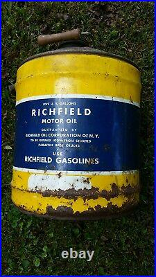 Vintage Richfield Motor Oil 5 Gallon Can