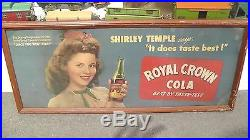 Vintage Royal Crown 1940's Shirley Temple Poster Board Framed Sign 29x12RARE