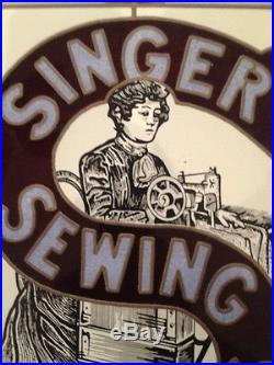 Vintage SINGER Sewing Machines Stained Glass Sign Advertising