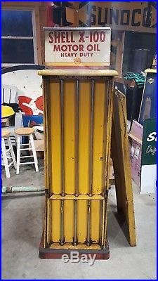 Vintage Shell oil can rack with 2 sign. Make an offer