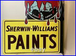 Vintage Sherwin Williams Paints Flange Sign Cover The Earth by Consolite Corp