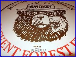 Vintage Smokey The Bear Forest Fire Prevention 30 Porcelain Metal Gas Oil Sign