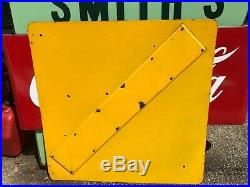 Vintage Southern California SLIPPERY WHEN WET Porcelain Sign Gloss Yellow