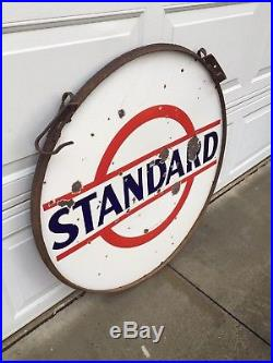 Vintage Standard Esso 36 Double Sided Porcelain Sign In Original Ring WithHangers