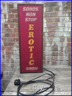 Vintage Strip Club Illuminated Sign Light Sohos Non Stop Erotic Show Man Cave