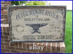Vintage Style PETER WRIGHT Anvil Wood Advertising Sign 24x36 Blacksmith Forge