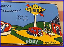 Vintage Sunoco Motor Oil Porcelain Sign Disney Gasoline Pump Plate Mickey Goofy