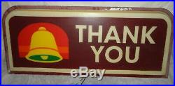 Vintage Taco Bell Exit / Thank You Sign Old Style Logo 37 x16