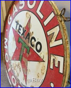 Vintage Texaco Double Sided Sign With Original Hanger Rim 42