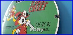 Vintage Texaco Gasoline Fire Chief Porcelain Mickey Mouse Disney Service Sign