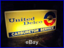 Vintage United Delco Carburetor Service Sign Lighted with Clock RARE Works