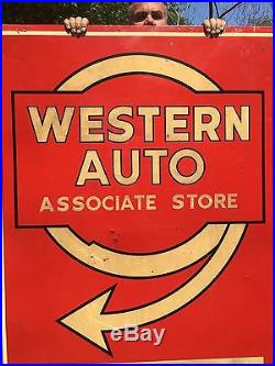 Vintage Western Auto Associate Store Single Sided Reflective Embossed Large Sign