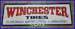 Vintage Winchester Embossed Metal Advertising Gas Oil Tire Sign Large 54