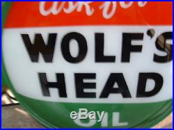 Vintage Wolf's Head lighted 2 sided flange sign