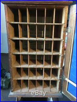 Vintage c. 1900 Diamond Dyes Oak Cabinet 25 Store Display WithEmbossed Metal Sign
