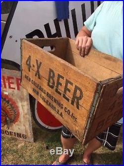 Vintage early rare 4-X Beer New Orleans wood box Bottle crate sign bar Jax