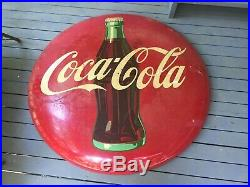 Vintage old antique coca cola coke button round sign 48 inch red A-M 2-53 rare
