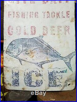 Vintage old bait tackle sign gas station general store fishing hunting beer ice