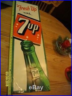 Vtg 1953 Freshup With 7up Soda Pop Embossed Metal Sign 42x 13 VERY RARE