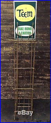 Vtg 50s 60s TEEM Pepsi Cola Soda Pop Gas Station 51 Display Floor Rack with Sign