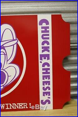 Vtg Chuck E Cheese Pizza Big Giant Ticket Sign Advertising 42x23