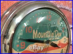 Vtg Ge Chrome Deco Advertising Mountain Dew Soda Diner-wall-clock Sign