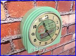 Vtg Green Deco Telechron Wrigley Gum-old Store Advertising Diner Wall Clock Sign