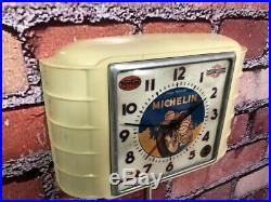 Vtg Michelin Motorcycle Tires-old Service-gas Station Oil Garage Wall Clock Sign