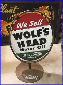 WOW ORIGINAL 1955 Vintage WOLF WOLF'S HEAD Sign & Stand Gas Oil Station OLD RaRE